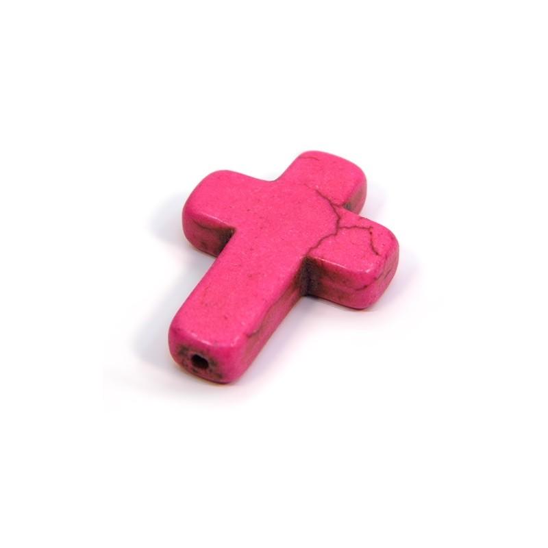 Намистина Хрестик, 30мм, натуральний говлит, рожева, плоска