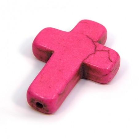 Бусина Крестик, 30мм, натуральный говлит, розовая, плоская