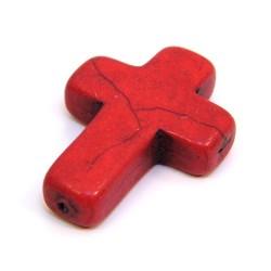 Бусина Крестик, 30мм, натуральный говлит, красная, плоская