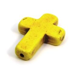 Намистина Хрестик, 30мм, натуральний говлит, жовта, плоска