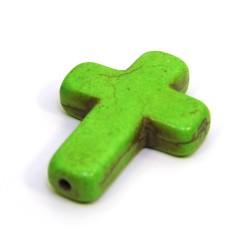 Бусина Крестик, 30мм, натуральный говлит, зеленая, плоская