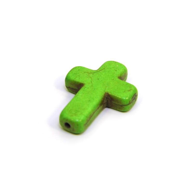 Намистина Хрестик, 30мм, натуральний говлит, зелена, плоска