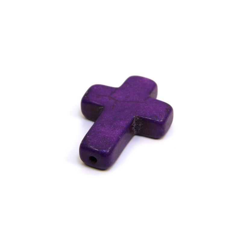 Бусина Крестик, 30мм, натуральный говлит, фиолетовая, плоская