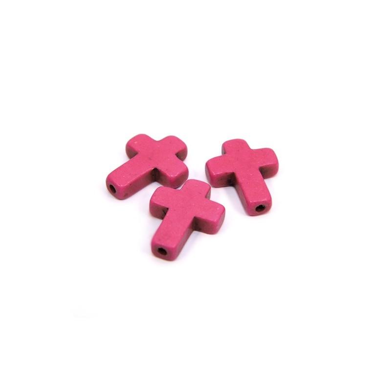 Намистина Хрестик, 16мм, натуральний говлит, рожева, плоска