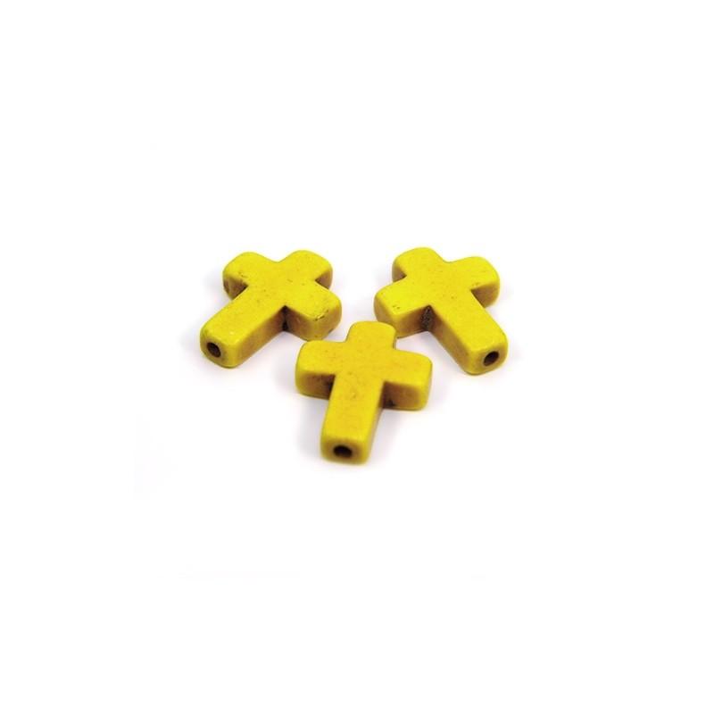 Бусина Крестик, 16мм, натуральный говлит, желтая, плоская
