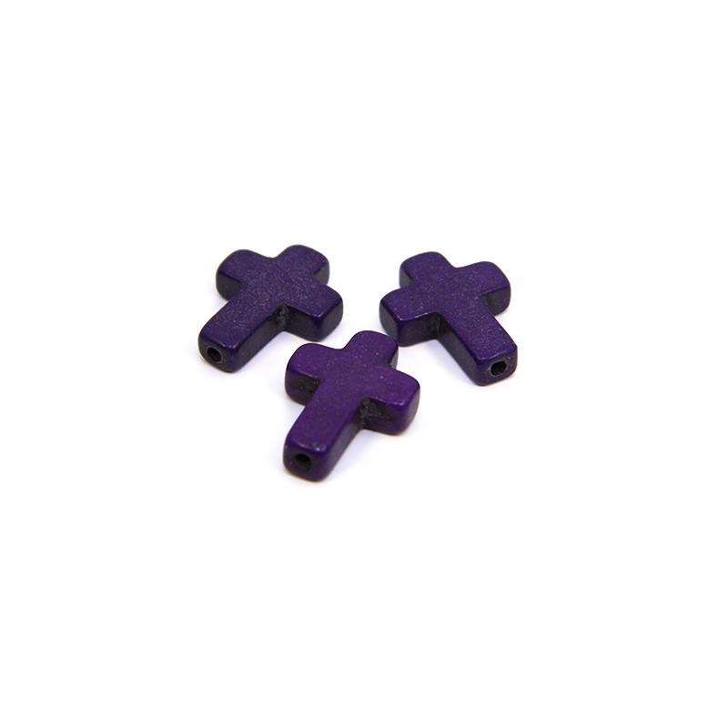 Бусина Крестик, 16мм, натуральный говлит, фиолетовая, плоская