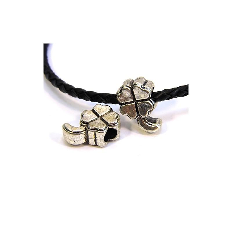 Бусины Клевера, металлические, 11х16 мм, стального цвета