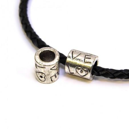 Намистина Love з сердечком, металеві, 8х9 мм, колір сталевий