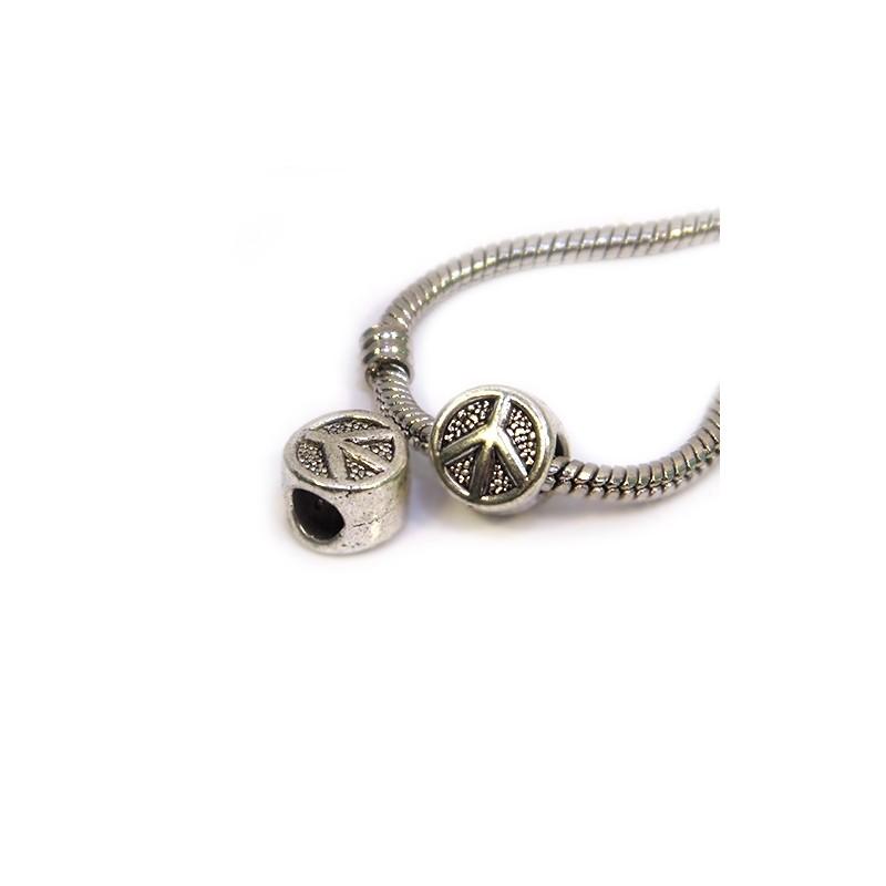 Намистини Символ Миру (Паціфік), металеві, 10х10 мм, колір сталевий