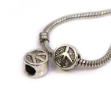 Намистини Символ Миру (Паціфік), металеві, 7х10мм, колір сталевий