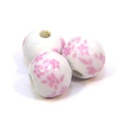 Порцелянові намистини ручної роботи, 12 мм в діаметрі, білі з рожевими квітами