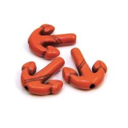 Бусина Якорь, 16мм, натуральный говлит, цвет оранжевый, плоская