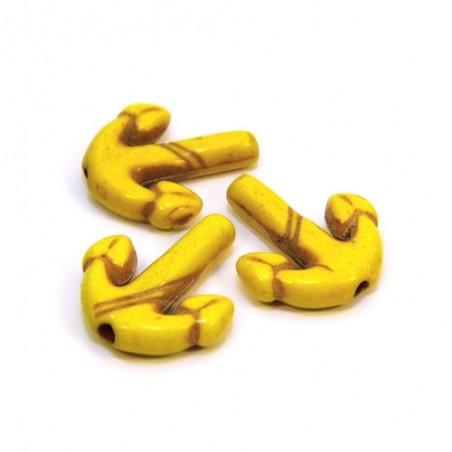 Бусина Якорь, 16мм, натуральный говлит, цвет желтый, плоская