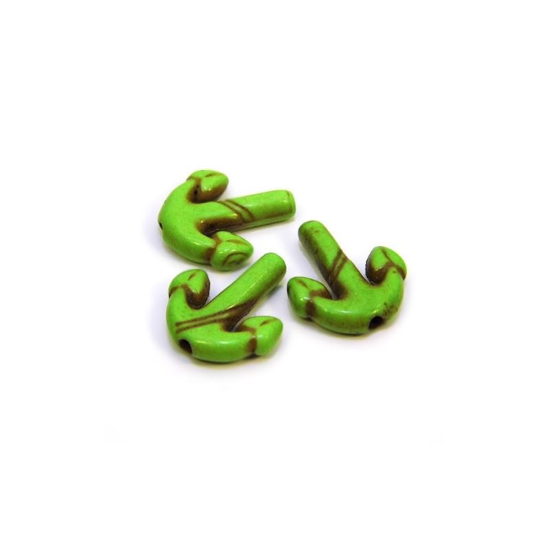Намистина Якір, 16мм, натуральний говліт, колір зелений, плоска