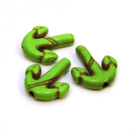 Бусина Якорь, 16мм, натуральный говлит, цвет зеленый, плоская