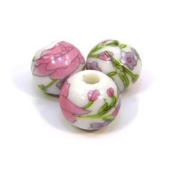 Фарфоровые бусины ручной работы, 12мм в диаметре, белые с цветами