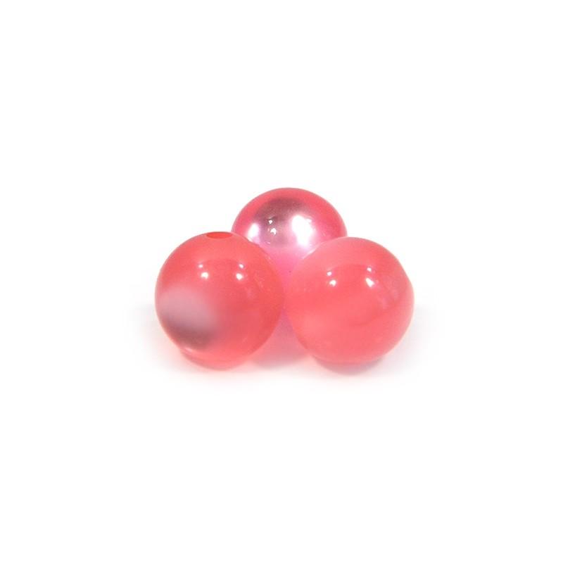 Смоляные бусины 12мм с эффектом кошачьего глаза, розовые