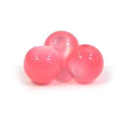 Смоляні намистини 10мм, з ефектом котячого ока, рожеві