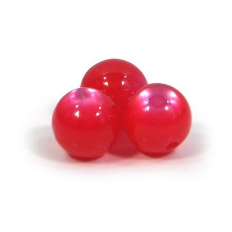 Смоляні намистини 10мм, з ефектом котячого ока, малиново-червоні