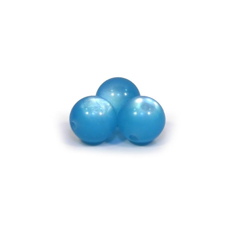 Смоляні намистини 10мм, з ефектом котячого ока, голубі