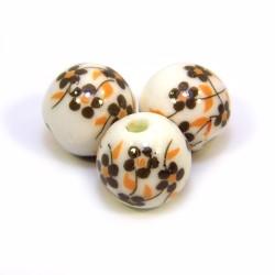 Порцелянові намистини ручної роботи, 12 мм в діаметрі, білі з коричневими квітами