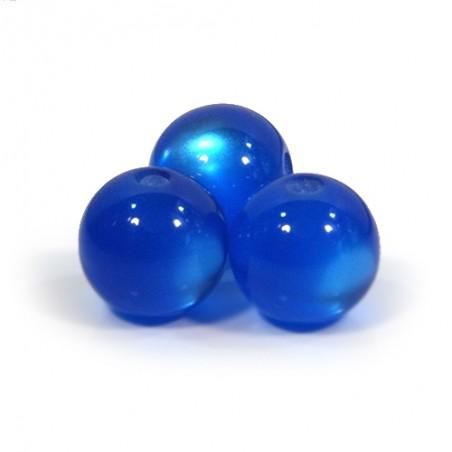 Смоляні намистини 12мм з ефектом котячого ока, сині
