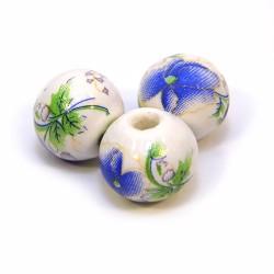 Порцелянові намистини ручної роботи, 12мм в діаметрі, білі з синіми квітами