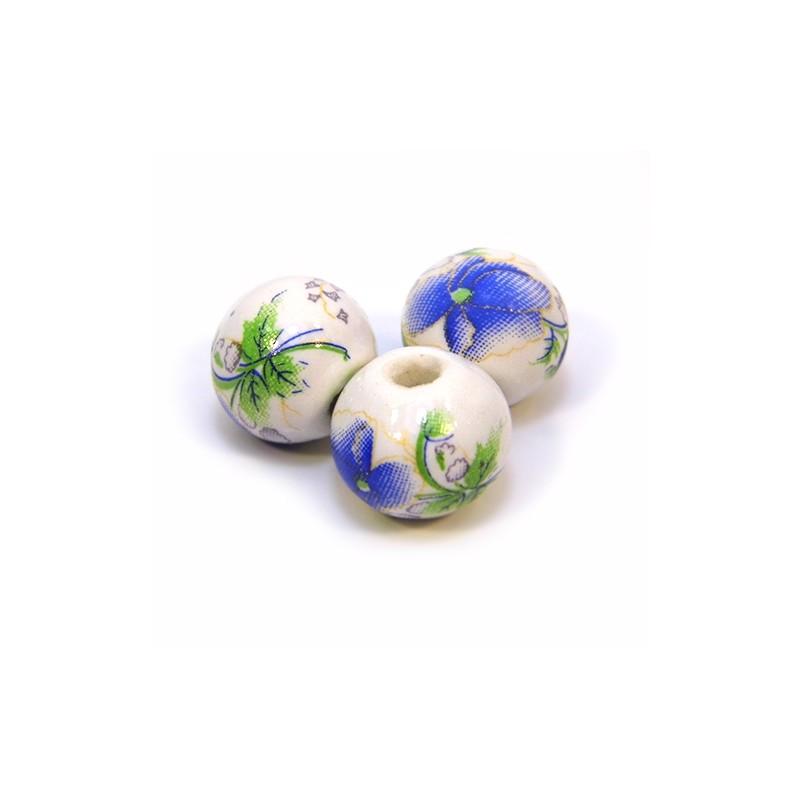 Фарфоровые бусины ручной работы, 12мм в диаметре, белые с синими цветами