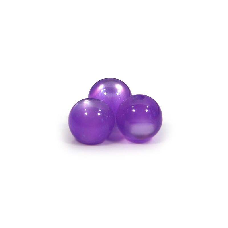 Смоляні намистини 12мм з ефектом котячого ока, фіолетові