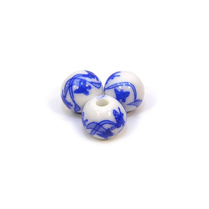 Фарфоровые бусины ручной работы, 12мм в диаметре, белые с синими бабочками