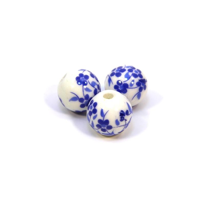 Фарфоровые бусины ручной работы, 12мм в диаметре, белые с синими цветочками