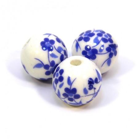 Порцелянові намистини ручної роботи, 12 мм в діаметрі, білі з синіми квіточками