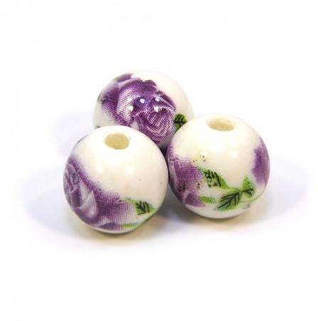 Фарфоровые бусины ручной работы, 12мм в диаметре, белые с фиолетовыми розами