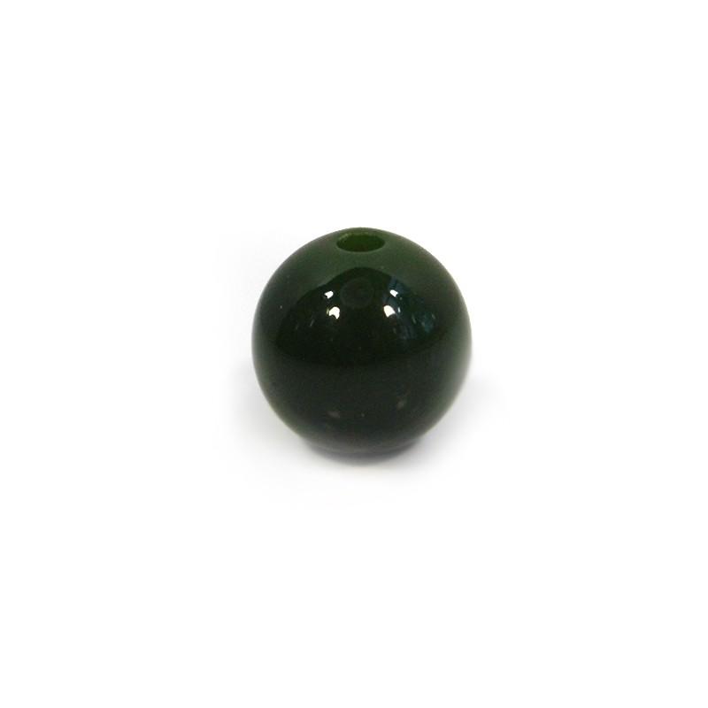Смоляні намистини 14мм, темно-зелені