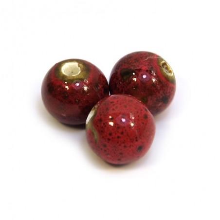Порцелянові намистини ручної роботи, 12мм в діаметрі, червоно-коричневі з крапленою глазур'ю