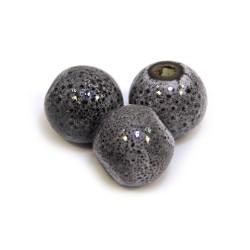 Фарфоровые бусины ручной работы, 12мм в диаметре, серо-черные с крапленой глазурью