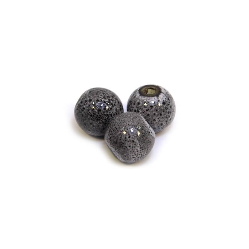 Порцелянові намистини ручної роботи, 12мм в діаметрі, сіро-чорні з крапленою глазур'ю
