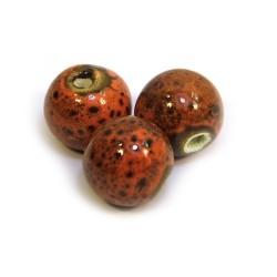 Порцелянові намистини ручної роботи, 12мм в діаметрі, помаранчево-коричневий з крапленою глазур'ю
