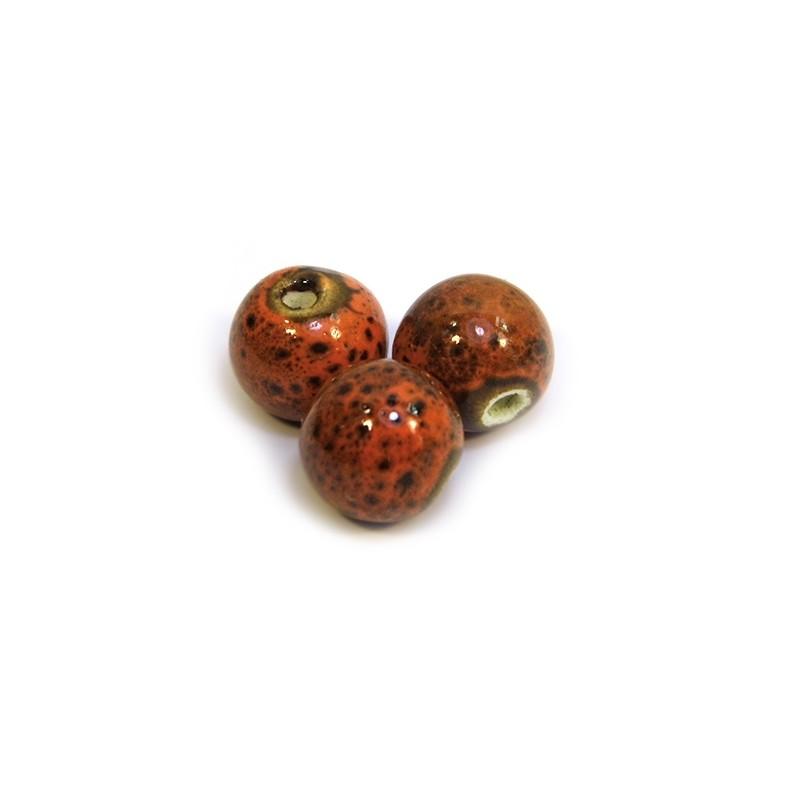 Фарфоровые бусины ручной работы, 12мм в диаметре, оранжево-коричневые с крапленой глазурью