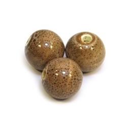 Фарфоровые бусины ручной работы, 12мм в диаметре, коричневые с крапленой глазурью