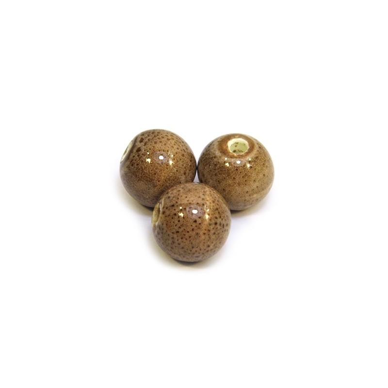 Порцелянові намистини ручної роботи, 12мм в діаметрі, коричневі з крапленою глазур'ю
