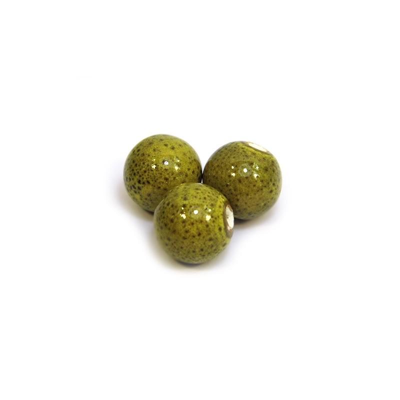 Порцелянові намистини ручної роботи, 12мм в діаметрі, оливкові з крапленою глазур'ю