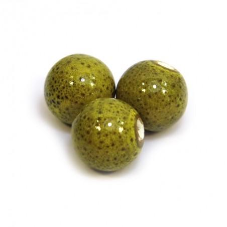 Фарфоровые бусины ручной работы, 12мм в диаметре, оливковые с крапленой глазурью