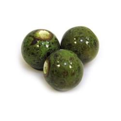 Порцелянові намистини ручної роботи, 12мм в діаметрі, зелені з крапленою глазур'ю