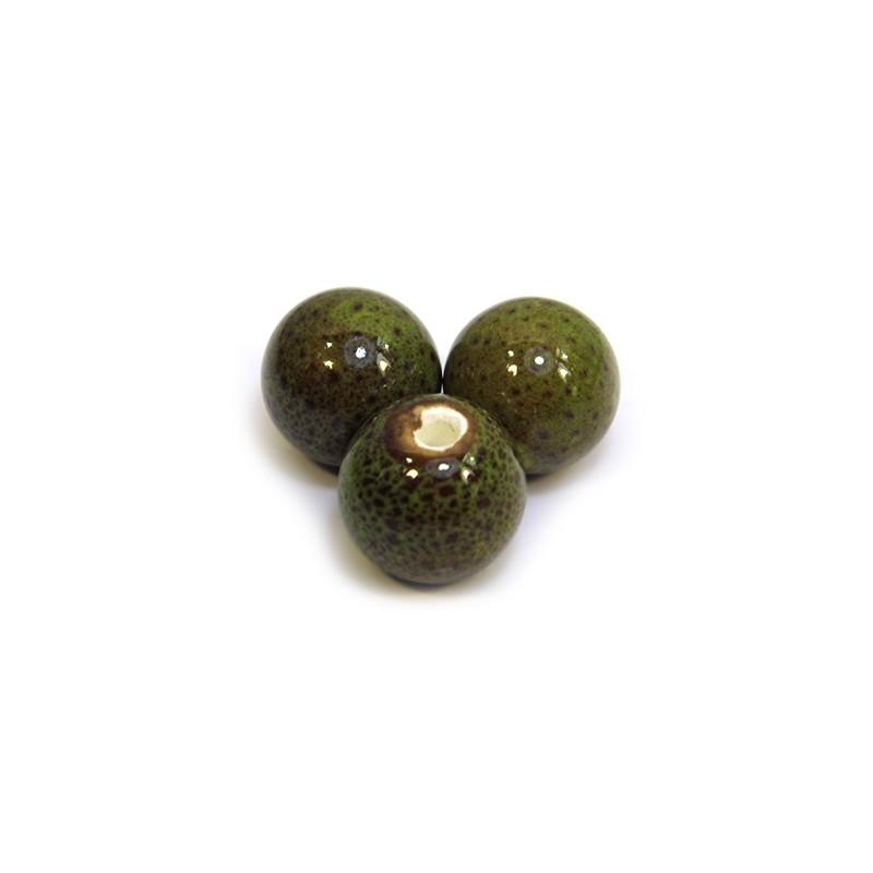Фарфоровые бусины ручной работы, 12мм в диаметре, зелено-коричневые с крапленой глазурью
