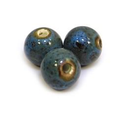 Фарфоровые бусины ручной работы, 12мм в диаметре, бирюзовые с крапленой глазурью