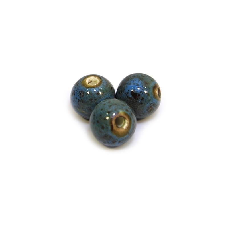 Порцелянові намистини ручної роботи, 12мм в діаметрі, синьо-коричневі з крапленою глазур'ю
