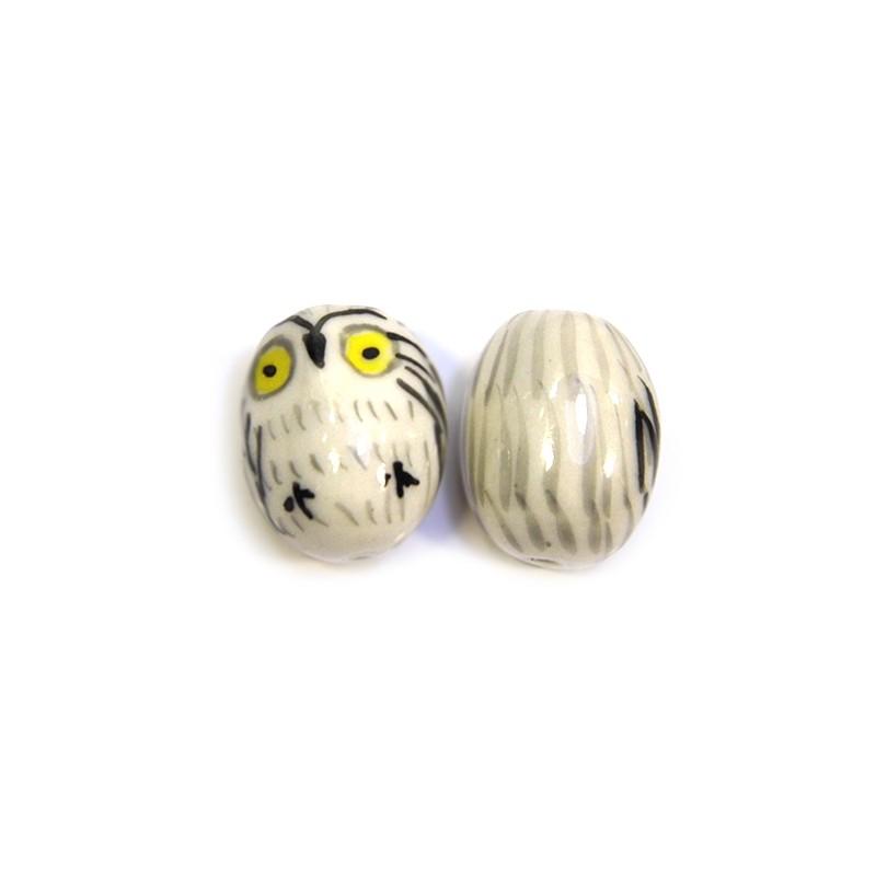 Фарфоровая бусина сова ручной работы, 21х16х16, белая