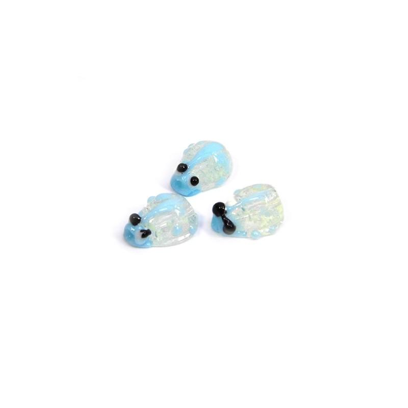 Бусина лэмпворк божья коровка ручной работы, 10х8х5мм, прозрачная с голубым