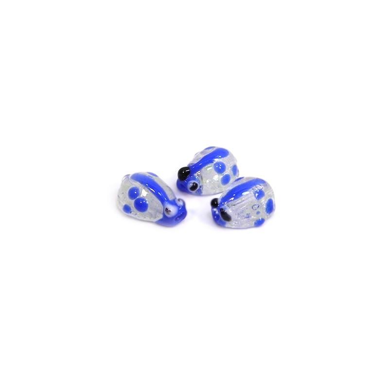 Бусина лэмпворк божья коровка ручной работы, 10х8х5мм, прозрачная с синим